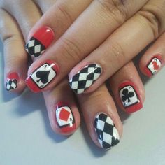 Queen of hearts nail art design clawz pinterest heart nail 12 interesting card nail designs prinsesfo Choice Image