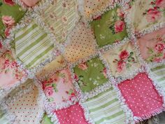Shabby Chic baby girl rag quilt picnic beach by COCountryQuilts24
