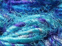 6 metres of recycled sari silk yarn - sea blue and  turquoise ocean colours  - textile art, couching, weaving, textiles embellisher