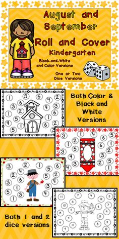 Just add dice!! Add a pair of dice and you have a ready-to-go math center to use in your kindergarten classroom in August and September!! This packet has 16 pages which are ready to print and use in your classroom; there are 8 full-color pages and 8 black-and-white pages. There is a set which uses 1 die and a set which uses 2 dice.