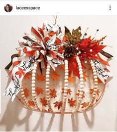 Dollar Tree Pumpkins, Dollar Tree Fall, Dollar Tree Decor, Dollar Tree Crafts, Pumpkin Wreath, Pumpkin Tree, Turkey Wreath, Pumpkin Crafts, Wire Wreath Forms