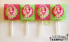Strawberry Shortcake themed lollipop candy favors (set of 10). via Etsy.