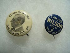 2 Woodrow Wilson Political Campaign Pin Badge Button No.7