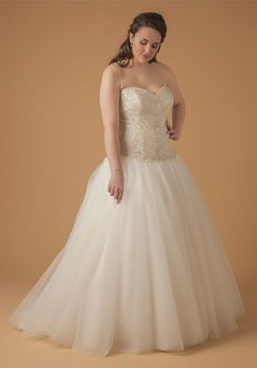 c0d580cfe385 Dina Davos for Kleinfield's Wedding Dresses Plus Size, Custom Wedding Dress,  Drop Waist Wedding