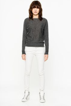 Pullover by Zadig & Voltaire, feather cashmere, contrasting nylon detail on the collar, ZV signature in pointelle on the bottom of the model. Naturally warm, feather cashmere is lighter and more delicate than classic cashmere. The knit is finer, making it an exceptional piece.