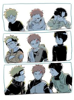 Naruto Gaara and Rock Lee growing up Naruto Comic, Naruto Shippuden Sasuke, Anime Naruto, Naruto Und Sasuke, Naruto Boys, Naruto Cute, Otaku Anime, Manga Anime, Sasuke Sakura