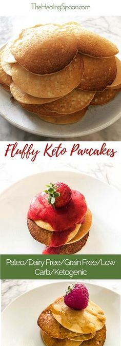 Paleo, Dairy free, Low Carb, Gluten Free and Keto Recipe for delicious fluffy Pancakes