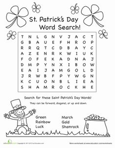 St. Patrick's Day Second Grade Puzzles & Sudoku Worksheets: St. Patrick's Day Word Search #1