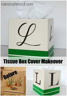 Trash to Treasure! Monogrammed Tissue Box Cover {rainonatinroof.com} #monogram #tissuebox #diy