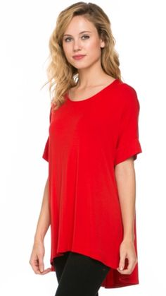 Short Sleeve Solid Knit Tunic