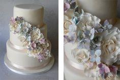 Hydrangea and Rose Cascade Wedding Cake by Sugar Ruffles, via Cake Central by ashley.shaw.54922169