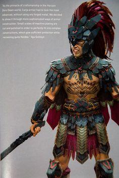 The Art of Horizon Zero Dawn - Carja armor Fantasy Character Design, Character Design Inspiration, Character Concept, Character Art, Concept Art, Aztec Culture, Aztec Warrior, Aztec Art, Horizon Zero Dawn