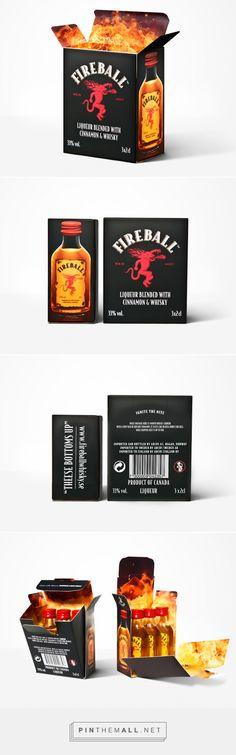 Fireball 3x2cl #whiskey #packaging designed by Gustaf Boman Network - http://www.packagingoftheworld.com/2015/05/fireball-3x2cl.html #fire
