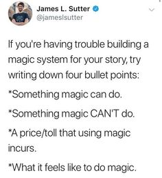 Writing Magic Systems Tips for creating a magic system for your novel Book Writing Tips, Creative Writing Prompts, Writing Words, Writing Resources, Writing Help, Writing Skills, Writing Ideas, Start Writing, Writing Inspiration Prompts