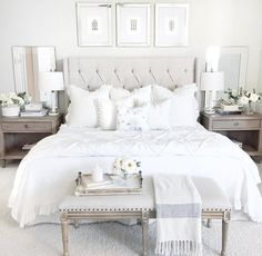 Cottage/Country Bedroom Design #allwhite #whitebedroom #brightroom #whiteheadboard