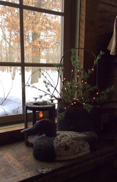 Handcrafted by Michelle Primitive Christmas, Country Christmas, Christmas Home, Looking Out The Window, Through The Looking Glass, Window View, Window Art, Primitive Windows, Lake Cabins