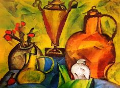 Lyonel Feininger Still Life with Jugs 1916 Vintage Lithograph