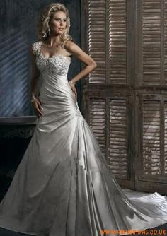 Satin One Shoulder with Rouched A line Skirt and Chapel Train in Lace up Closuer 2011 Wedding Dress 0353