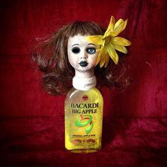 Bastet2329 OOAK Creepy Halloween horror Rum Bottle Doll Yellow Flower One Eye