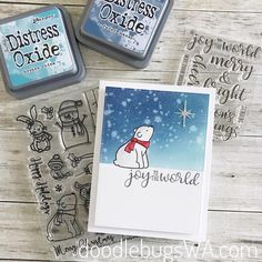 Sunny Studio Stamps: Playful Polar Bears customer card by Doodlebugs