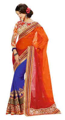 Multi Embroidered Net,Pure Georgette Saree With Blouse 10% Off, Buy Now @ Rs 8559