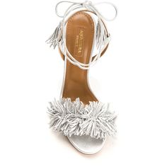 Aquazzura silver leather Wild Thing sandals (71185 RSD) ❤ liked on Polyvore featuring shoes and sandals