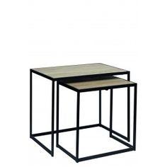 LUCA - set van 2 bijzettafels - metaal/eik fineer - 60x42x50 + 45x32x45 cm