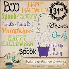 Digiart Cafe: FREE Halloween Digi-Stamps & Photoshop Brushes
