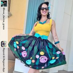 How cool and quirky is this skirt?! Looks great on you @love_darrce_grace #pinup #disney #disneyland #pinupgirl #pufferfish #skirt #pinupbible #vintagestyle #colorful