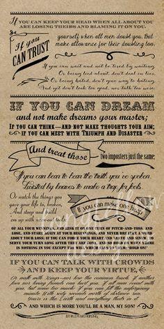 Inspirational IF poem by Rudyard Kipling - 10 x 20 CHOOSE Kraft or Chalkboard Look PRINT    **Watermark Longfellow Designs will be removed