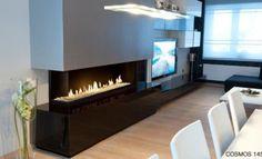 Cheminée gaz en salle à manger #cheminée #insert #gaz #confort #design