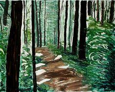 Summer Hike original hand printed monotype painting by printsnat