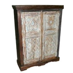 Antique India Furniture Hand Carved Armoire Cabinet Chest From Gujrat Blue Patina