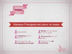 Síntomas principales del Cáncer de mama, detecta a tiempo esta enfermedad, si persisten molestias en tu cuerpo no dudes en acudir al médico.https://www.facebook.com/fundacionAGA/?fref=nf
