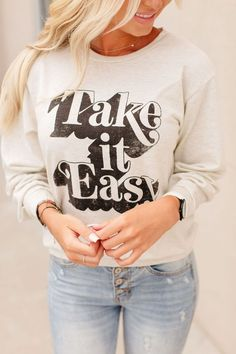 Take it Easy Top – Mindy Mae's Market Shirt Print Design, Shirt Designs, Tee Design, T Shirt Diy, Tee Shirts, Take It Easy, T Shirts For Women, Clothes For Women, Cool Outfits