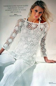 Grace y todo en Crochet: White tunic boat neck...Tunica blanca cuello bote....
