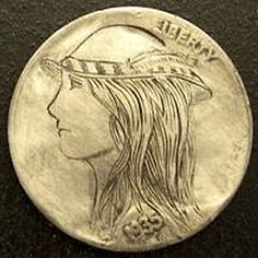 DAVID JONES HOBO NICKEL - FEATHER GIRL - 1935 BUFFALO NICKEL Hobo Nickel, David Jones, Buffalo, Classic Style, Feather, Carving, Artist, Quill, Wood Carvings