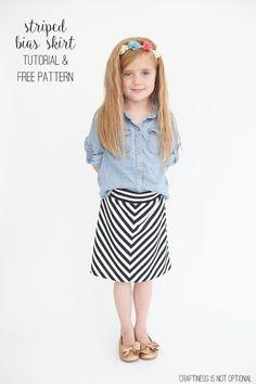 striped bias skirt tutorial and free pattern