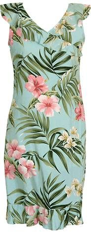 Pink Hibiscus Ladies Rayon VNeck Ruffle Dress Aqua