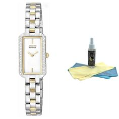 Citizen EG2784-58A Women's Eco-Drive Silhouette Two Tone Swarovski Crystal Watch with 30ml Ultimate Watch Cleaning Kit