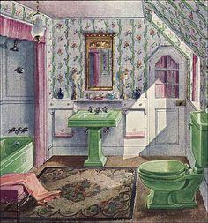1929 Crane Bathroom - Green & Lavender