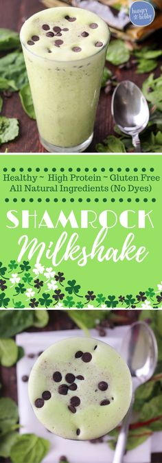 This healthy shamrock milkshake is so creamy and sweet it's delicious!  Eat it for dessert or for breakfast, 31 grams of filling protein!  via @hungryhobby