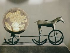 Trundholm sun chariot, Denmark, 10th c. B.C. The Bronze Age Trundholm sun chariot from Denmark is one of many artifacts illustrating the importance of horses in Indo-European myth and ritual.