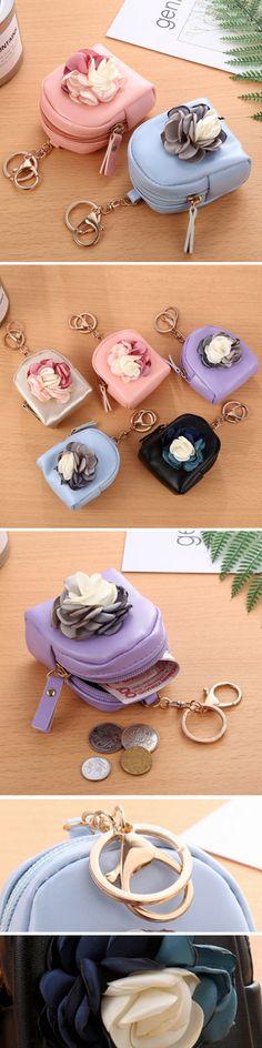 US$6.64  Cute Fashion Purse PU Leather Zipper Mini Korean Flower Bag Key Coin Bag