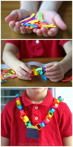 Rainbow & Pot of Gold Chain Necklace - St. Patrick's Day craft for kids! | CraftyMorning.com