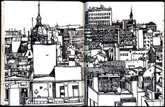 Spain (July by Jonathan Twingley, via Behance Urban Sketching, Sharpie, Painting & Drawing, Spain, Illustration Art, Black And White, Drawings, Sketchbooks, Travel