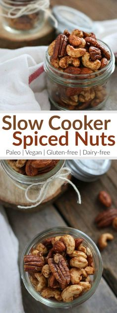 Slow Cooker Spiced Nuts A lightly sweet treat that everyone will love. Made in the slow cooker, these Spiced Nuts are simple to make and are the perfect food gift for the snack lovers on your list Paleo Vegan Gluten-free Dairy-free therealfood Paleo Vegan, Vegan Snacks, Healthy Snacks, Simple Snacks, Diy Snacks, Healthy Recipes, Nut Recipes, Real Food Recipes, Snack Recipes