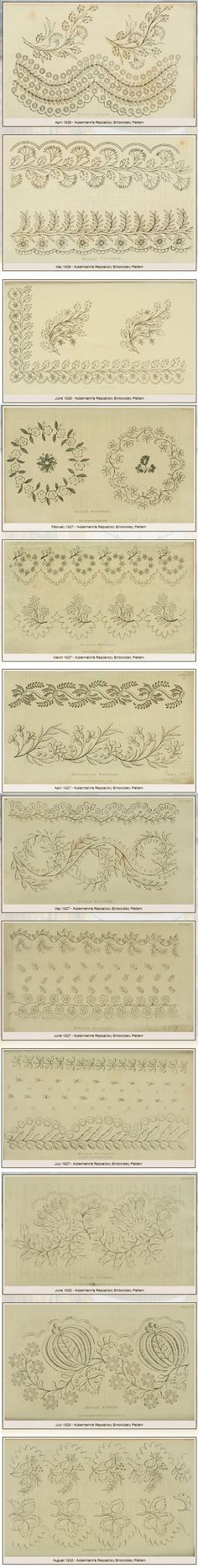 "39 beautiful free printable Needlework Patterns (from Ackermann's Repository 1826 - 1828) shared by Evelyn Kennedy Duncan. PLEASE NOTE: for full resolution printing follow the ""Download instructions"" in her sidebar. http://www.ekduncan.com/2011/10/regency-era-needlework-patterns-from_13.html"