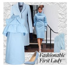 """Melania Trump in Powder Blue"" by lulalalala ❤ liked on Polyvore featuring Helen McAlinden, WithChic, Ivanka Trump and Forzieri"