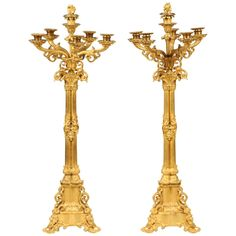 Pair of Large Gilt Bronze Candelabra | From a unique collection of antique and modern candle holders at https://www.1stdibs.com/furniture/decorative-objects/candle-holders/